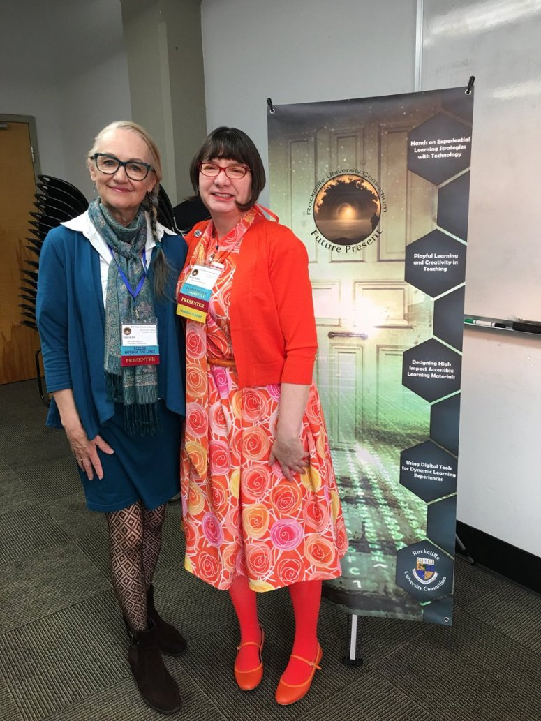 Valerie Hill (CVL Director) and Renne Emiko Brock-Richmond (Artist-Instructor-Superhero) at RUCC18